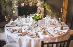 Reception table setting at Trillium Resort by Vaughn Barry Photography Reception Areas, Reception Table, Destination Wedding, Wedding Venues, Winter Wonderland Wedding, Workout Rooms, Resort Spa, Getting Married, Wedding Decorations