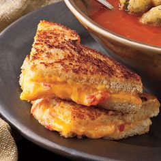 Grilled Pimiento Cheese Sandwich | Take your normal grilled cheese sandwich up a notch with this classic pimiento cheese recipe instead of just plain Cheddar. | SouthernLiving.com
