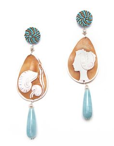 Seahorse Cameo earrings with passementerie, amazonite pendants and pearls. www.annaealex.com