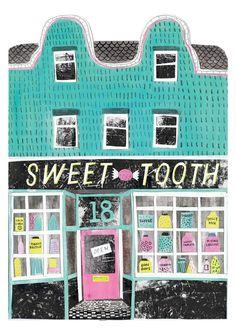 Louise Lockhart, sweet tooth, sweet shop, illustration, printmaking, drawing, pattern, colour, print, texture, mark making