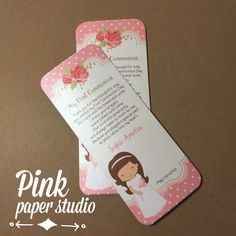 First Communion favor cards