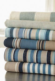 Sea Island Stripes by Schumacher - a great range of textiles in a range of wonderful coastal colour options too. Seaside Decor, Beach House Decor, Coastal Decor, Home Decor, Coastal Colors, Coastal Style, Coastal Fabric, Coastal Living Rooms, Coastal Cottage