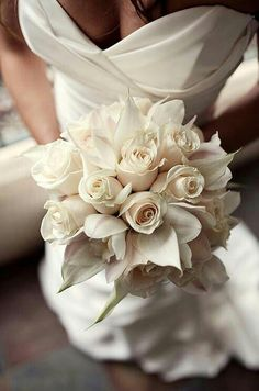 Cream Roses & Creamy Light Blush Orchids Make For An Ultra Elegant & Posh Bridal Bouquet