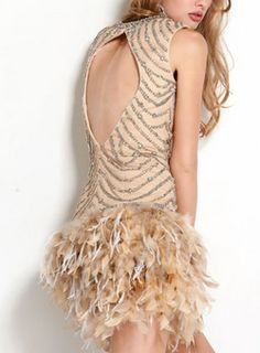 Beaded Feather Dress by JOVANI @girlmeetsdress