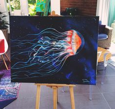 Lagrimas de Mar . Acrylic on canvas . Contact me : danywellerm@hotmail.com #jellyfish #artforsale