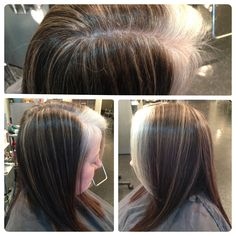 Blond pinstripe highlights to camouflage gray growing out! This is a great way to balance the hues when you are growing out a solid dark haircolor to your natural grey.
