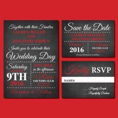 Red and Black Chalkboard Wedding Invitations, Printable Wedding Invitation…