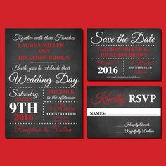 Red and Black Chalkboard Wedding Invitations, Printable Wedding Invitation…