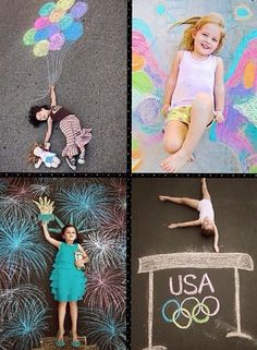 Go outside with some chalk and have a blast taking cool pictures