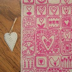 sweetheart  screenprinted fabric by summersville on Etsy, £5.50