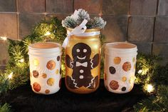 Items similar to Christmas Winter Painted Mason Jar Luminaries / Vases / Holiday Centerpiece Lighting / Outdoor Decor / Gingerbread Gold Copper Chocolate on Etsy Christmas Jars, Christmas Ideas, Christmas Decorations, Holiday Centerpieces, Painted Mason Jars, Gingerbread, Planter Pots, Awesome, Winter