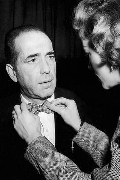 Lauren Bacall fixing Humphrey Bogart's bow-tie, 1951.