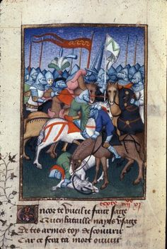 """Achilles killing Hector in battle. Christine de Pizan, 'L'Épître Othéa' in BL Harley MS 4431 fol. 136v: """"The Book of the Queen"""" (various works), c. 1410-14 (France - Paris), made for Isabeau of Bavaria, Queen of France. Presented to her as a New Year's gift, Jan 1414. Later owned by John, Duke of Bedford; his wife, Jacquetta of Luxembourg; her son by her 2nd husband, Anthony Woodville, 2nd Earl Rivers; Louis de Gruthuyse; Henry Cavendish, duke of Newcastle."""