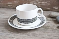 "Hand-painted vintage cup & saucer, set ""somewhat angular"", black and white. €28.00, via Etsy."
