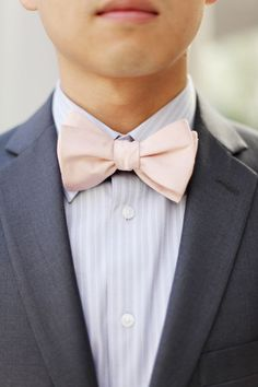 Blush and gray groom's style: http://www.stylemepretty.com/2016/05/02/style-alert-were-bringing-bow-ties-back/