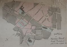 """""""Grund Tegning over Kjøbenhavns Ildebrand ved det engelske Bombardement fra den 2. til den 5. September 1807"""". De røde områder er områderne ramt af branden. Læg særligt mærke til """"Frue Kirke""""."""