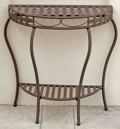 International Caravan Santa Fe Iron Nailhead 2-Tier Half Moon Table in Rustic Brown