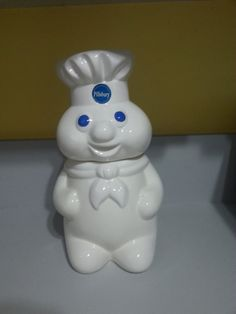Pillsbury Poppin Fresh Doughboy Vintage 1988 cookie jar with a very interesting fact about previous owner!