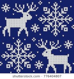Reindeer and snowflakes jacquard seamless pattern. Blue and white knitted background. Knitting Patterns Free Dog, Knitted Mittens Pattern, Jumper Knitting Pattern, Knitting Charts, Xmas Cross Stitch, Cross Stitch Embroidery, Cross Stitch Patterns, Christmas Knitting, Christmas Cross