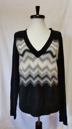 Liz Claiborne Villager Sweater Black Grey White Chevron Zig Zag V neck Womens XL #Villager #Sweater