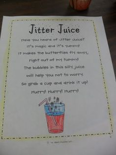 First Day Jitter Juice...Hawaiian Punch + Sprite (to serve after reading First Day Jitters) by doris