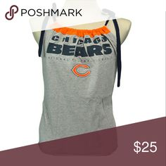 "Chicago Bears Football T Shirt handmade Chicago Bears Football T Shirt handmade from an upcycled cotton/poly t shirt.  Shirts are all handmade and may have side or back panels of cordinating colors   SIZE CHART Small fits 32""-34"" Medium fits 34""-36"" Large fits 36""-38"" XL fits 38""-40"" XXL fits 40""-42"" Tops Tank Tops"