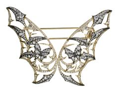 Stephen Webster 18-carat Yellow Gold Couture Fly By Night Brooch with White Diamonds.