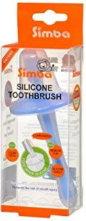 Simba Soft Bristle Silicone Baby Toothbrush with Milk Residue//Fur Scrubber. Blue