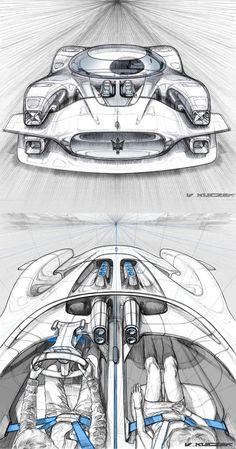 Maserati Concept ballpoint pen design sketch by Vivien Kleczek