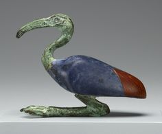 "ancientpeoples: "" Statuette of an Ibis Made in Egypt, 3rd century B.C. - 1st century A.D. Glass and bronze, 6.3 x 8 cm (2 ½ x 3 1/8 in.) Source: The J. Paul Getty Museum """
