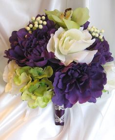 purple, white and green wedding bouquet