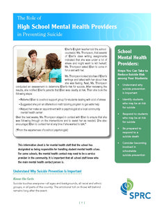 Role of High School MH Providers in Suicide Prevention