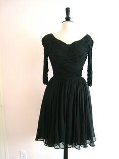 On Ruby Lane - Ceil Chapman Cocktail Dress Couture Black Silk Chiffon, $475