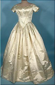 1840's Cream Satin Wedding Gown!
