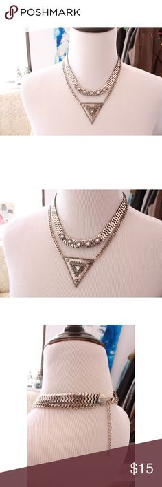 Silver Triangle Jeweled Statement Necklace Set A set of two necklaces that can be worn together or separately. One is an edgy triangle necklace, and the other is a softer statement necklace. Wild Eclectic Jewelry Necklaces