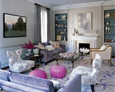 In the Washington, D.C., living room of Ali Wentworth and George Stephanopolous, purple is used in subtle ways.