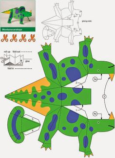paper toy Dinosaurier Kiragami Dover Publikationen wchentliche Probe Source by emeldb Paper Dinosaur, Dinosaur Crafts, Dinosaur Origami, Dinosaur Decorations, Projects For Kids, Diy For Kids, Crafts For Kids, Preschool Crafts, Dinosaur Activities