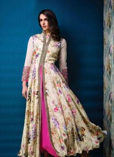Cream exclusive floral printed party wear gown in silk and satin