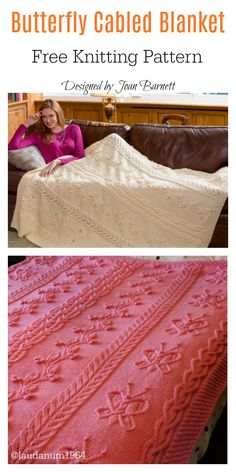 Butterfly Cabled Blanket Free Knitting Pattern #freeknittingpattern #blanketpattern #butterfly