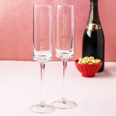 Personalized Contemporary Champagne Flutes by Beau-coup