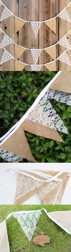 12pcs/set 3m Rustic Burlap Lace Banner Garland Birthday Party Jute Bunting Pennant Flag Wedding Home Decoration $6.92