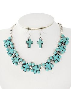 MEGA CROSS NECKLACE SET - IN TURQUOISE STONE