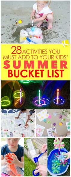 28 Activities You Must Add to Your Kids' Summer Bucket List - Try making a Summer Bucket List with your kids to keep boredom at bay. Here are 28 bucket list items to get you started! Yard Games For Kids, Outdoor Activities For Kids, Toddler Activities, Kid Games, Beach Activities, Do It Yourself Organization, Summer Bucket Lists, Summer Kids, Toddler Summer Crafts