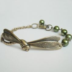 New to BeadsStory on Etsy: Green Dragonfly Chain Jewelry Charm Bracelet Brass Dragonfly Olivine Pearls Friendship Brass Chain Bridal Free Shipping Gift 21.00 USD