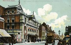 June 1910 color-tinted postcard showing the façade and a side wall of the New Cross Empire Theatre within a streetscape of New Cross Road in London. Vintage London, Old London, London History, South London, London Photos, Places Of Interest, England Uk, Vintage Pictures, Old Photos