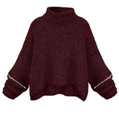 Vintage Loose Women Turtleneck Zipper Sleeve Knitted Short Sweater (€23) ❤ liked on Polyvore featuring tops, sweaters, purple sweater, zipper sweater, vintage tops, short sleeve sweater and short sleeve tops
