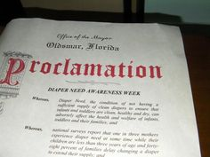 Oldsmar, FL -- Mayoral proclamation recognizing Diaper Need Awareness Week (Sept. 28 - Oct. 4, 2015) www.diaperneed.org #DiaperNeed
