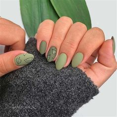 Green Nail Designs, Fall Nail Art Designs, Shellac Nail Designs, Shellac Manicure, Autumn Nails, Winter Nails, Stylish Nails, Trendy Nails, Cute Nails For Fall