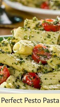 Whether you serve it hot or cold this is a winning pasta dish. Our Perfect Pesto Pasta gets its light, summery fresh taste from ingredients . Vegetarian Recipes, Cooking Recipes, Healthy Recipes, Healthy Food, Healthy Pesto, Dinner Healthy, Healthy Meals, Delicious Recipes, Pesto Pasta Recipes