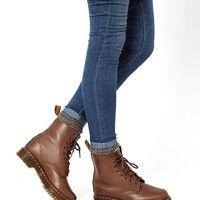 Dr Martens | Dr Martens Serena Brown Sheepskin 8-Eye Boots at ASOS